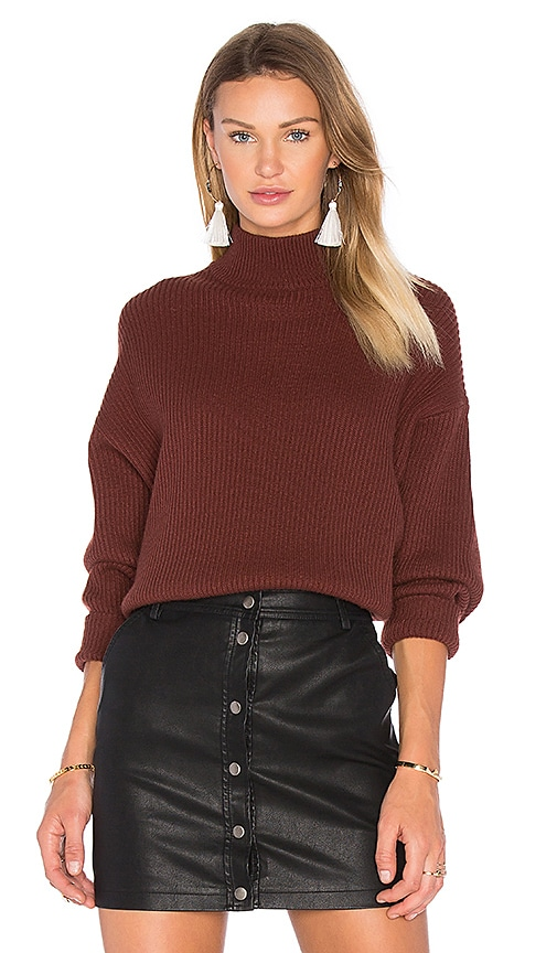 Autumn Cashmere Oversized Mock Neck Sweater in Brown