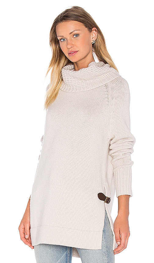 Autumn Cashmere Cowl Neck Side Buckle Sweater in Beige