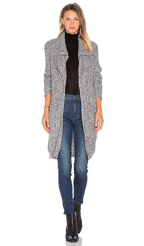 Autumn Cashmere Double Lapel Cardigan in Gray
