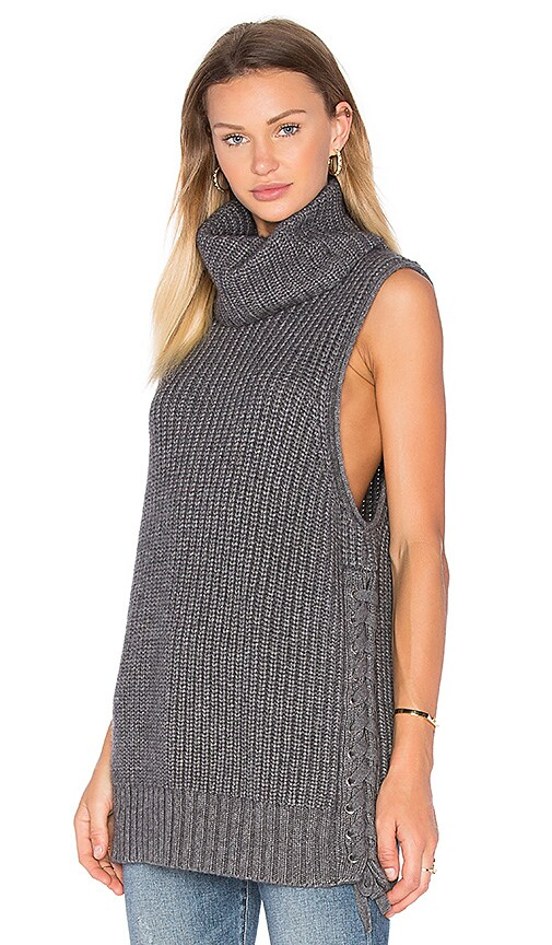 Autumn Cashmere Lace Up Sweater in Gray