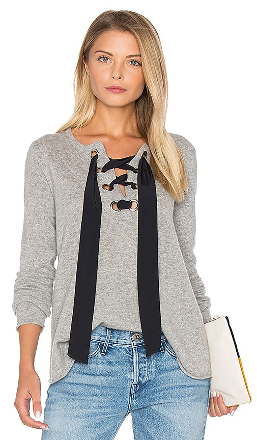 Autumn Cashmere Lace Up Flare Sweater in Gray