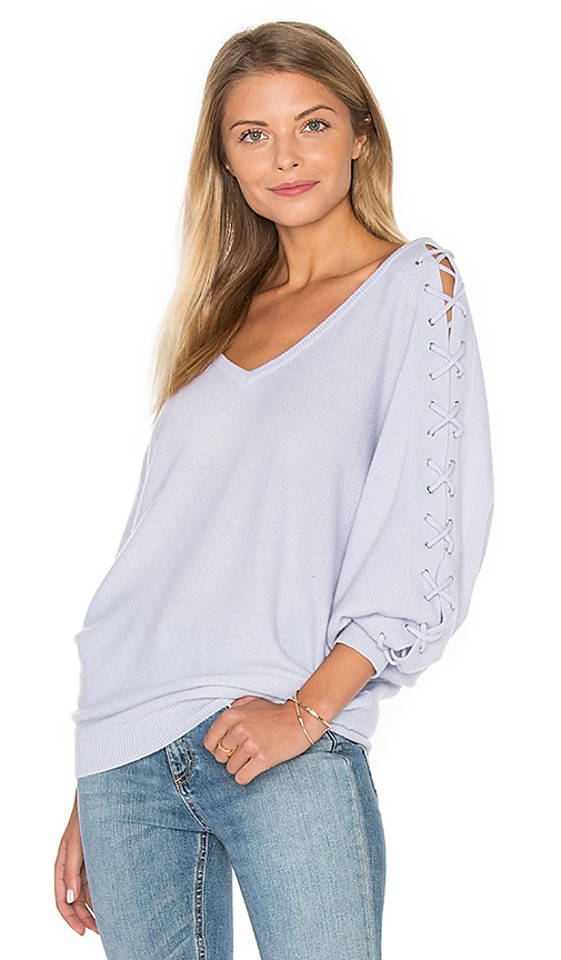 Autumn Cashmere Double V Laced Dolman Sweater in Baby Blue