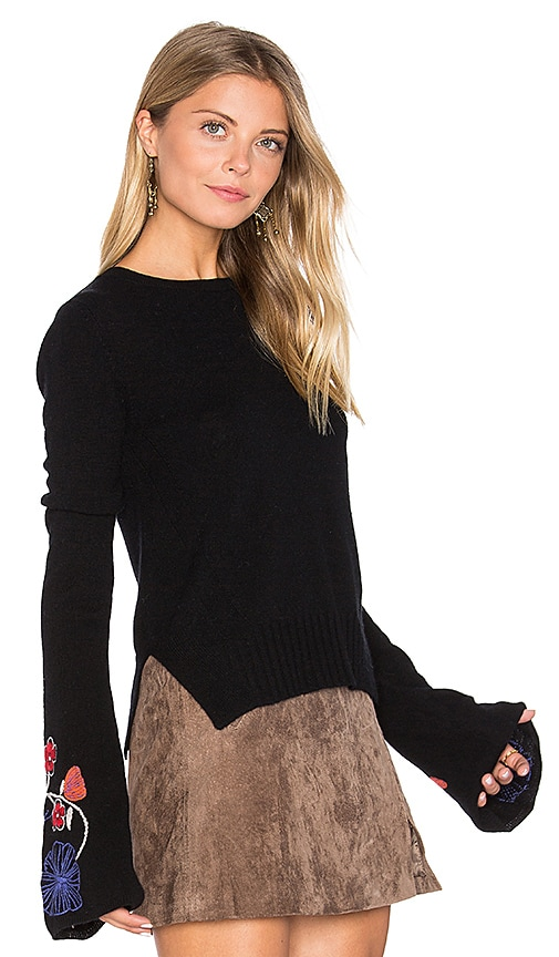 Embroidered Bell Sleeve Sweater