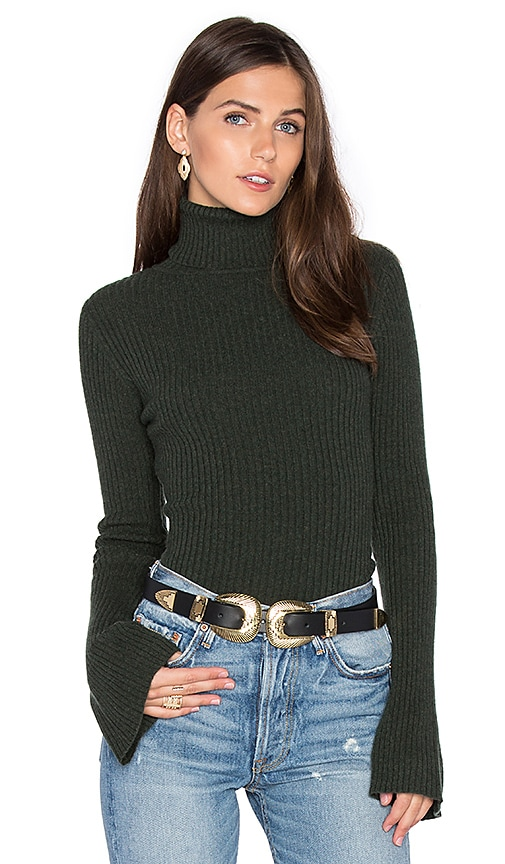 Autumn Cashmere x REVOLVE Ribbed Turtleneck Bell Sleeve Sweater in Dark Green