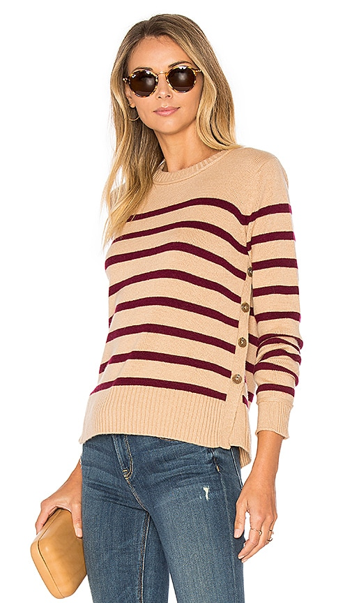 Autumn Cashmere Breton Side Button Stripe Sweater in Tan