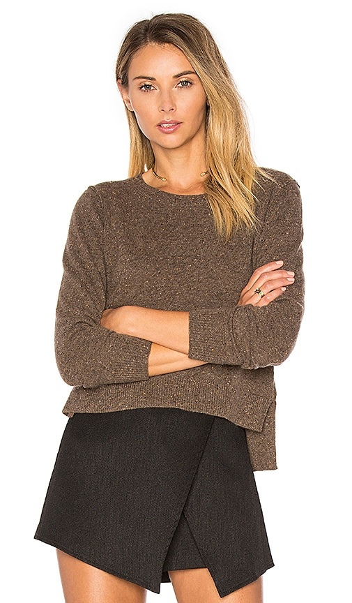 Autumn Cashmere Crop Crew Neck Sweater in Brown