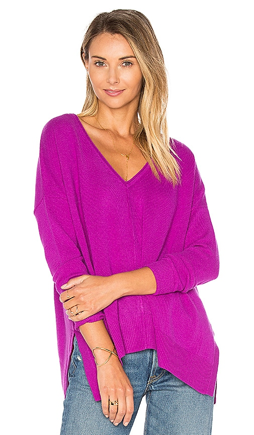 Side Slit V Neck Sweater
