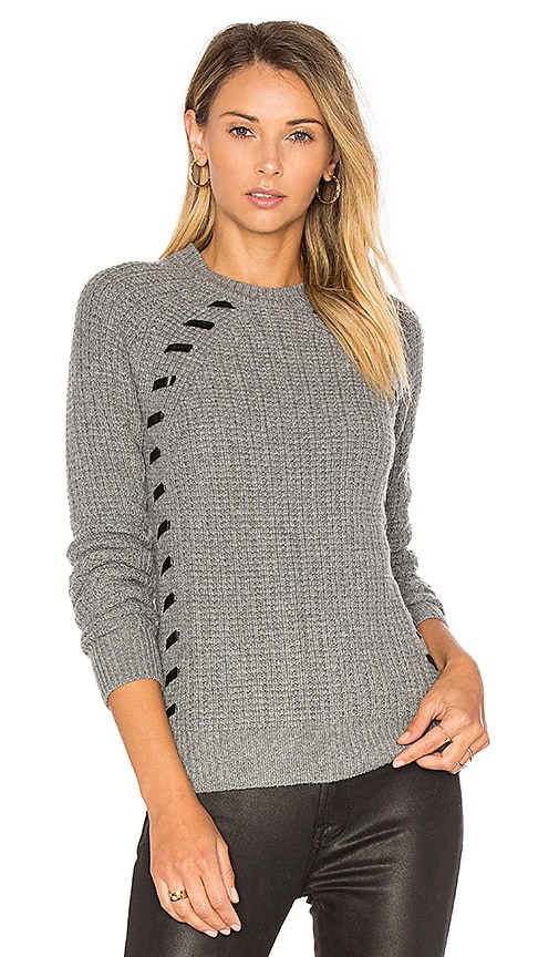 Autumn Cashmere Leather Lacing Sweater in Grey