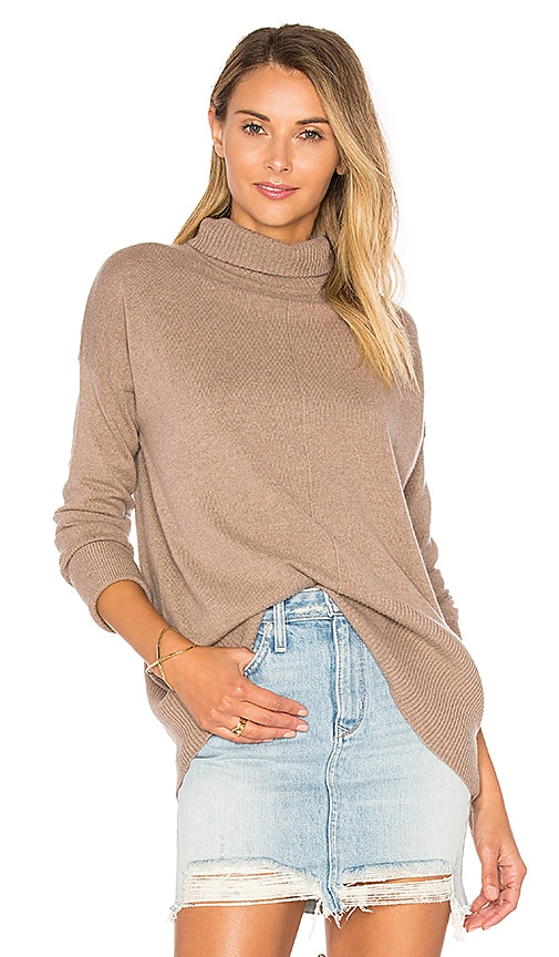 Autumn Cashmere High Low Turtleneck Sweater in Brown