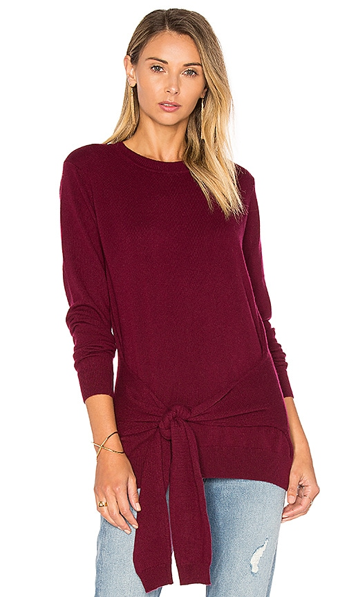 Autumn Cashmere Tie Front Sweater in Burgundy