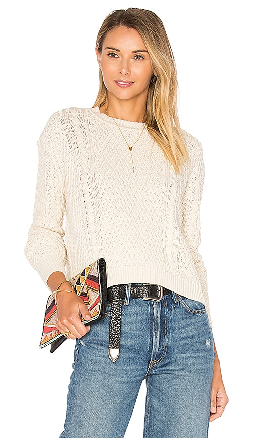 Autumn Cashmere Boxy Cable Crew Neck Sweater in Neutral