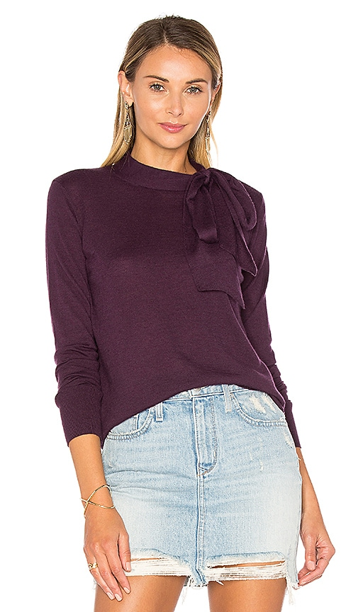 Autumn Cashmere Tie Neck Sweater in Purple