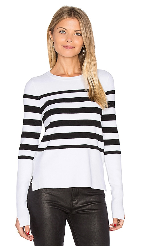 Autumn Cashmere Hi Lo Stripe Sweater in Black & White