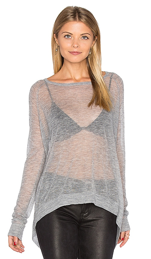 Autumn Cashmere Hanky Hem Boatneck Sweater in Gray