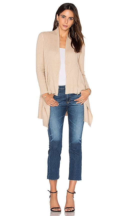 Autumn Cashmere Zip Rib Drape Cardigan in Tan