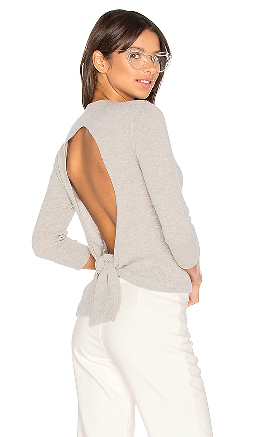 Autumn Cashmere Tie Back Crop Sweater in Gray