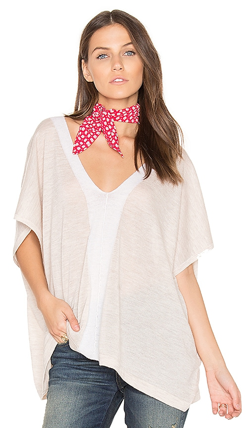 Autumn Cashmere V Neck Poncho in Beige
