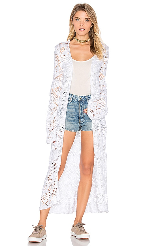 Autumn Cashmere Long Cardigan in White