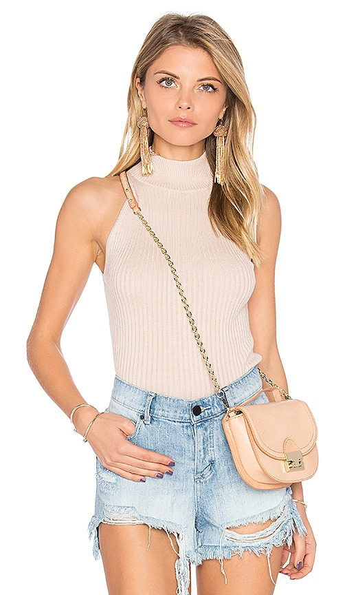 Autumn Cashmere Rib Mock Neck Halter Sweater in Cream