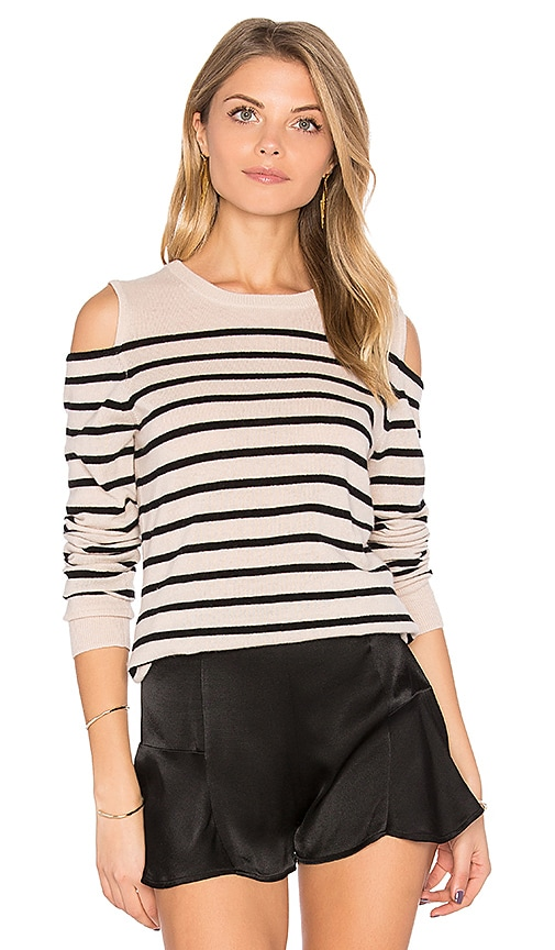 Autumn Cashmere Cold Shoulder Stripe Sweater in Gray