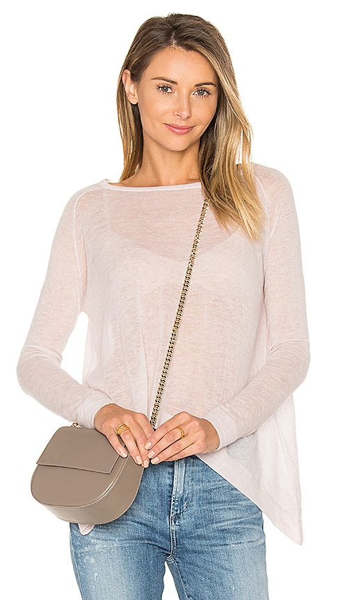 Autumn Cashmere Hanky Hem Boatneck Sweater in Pink