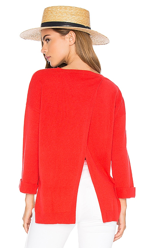 Autumn Cashmere High Low Open Back Sweater in Red