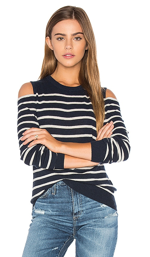 Autumn Cashmere Cold Shoulder Stripe Sweater in Navy