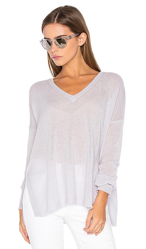 Autumn Cashmere Side Slit V Neck Sweater in Blue