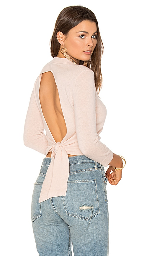 Autumn Cashmere Tie Back Crop Sweater in Pink