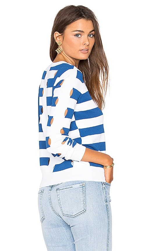 Autumn Cashmere Stripe Sweater in Blue