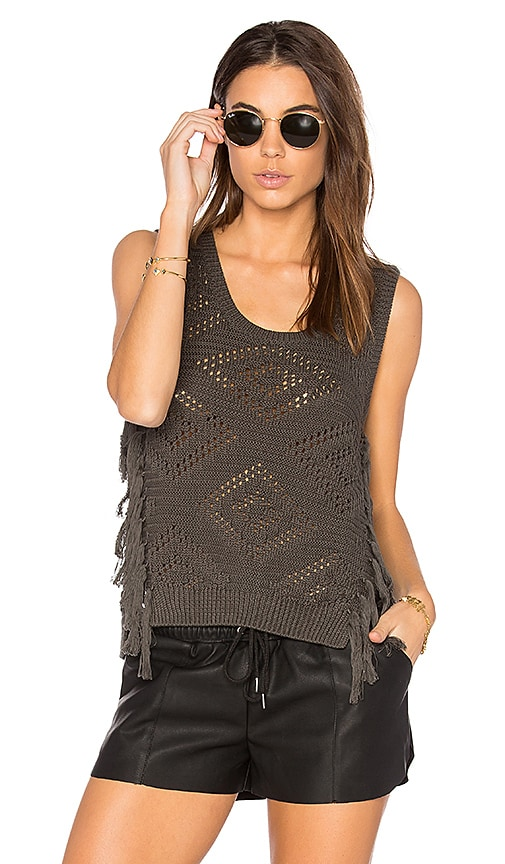 Autumn Cashmere Fringe Sleeveless Sweater in Gray