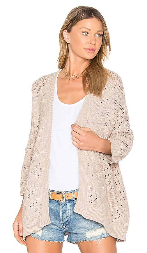 Autumn Cashmere Open Knit Cardigan in Beige