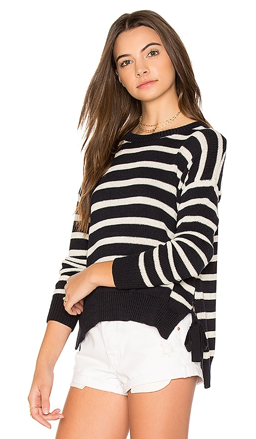 Autumn Cashmere Striped Hi Lo Sweater in Blue