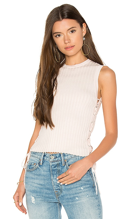 Autumn Cashmere Rib Side Lace Up Sweater in Pink