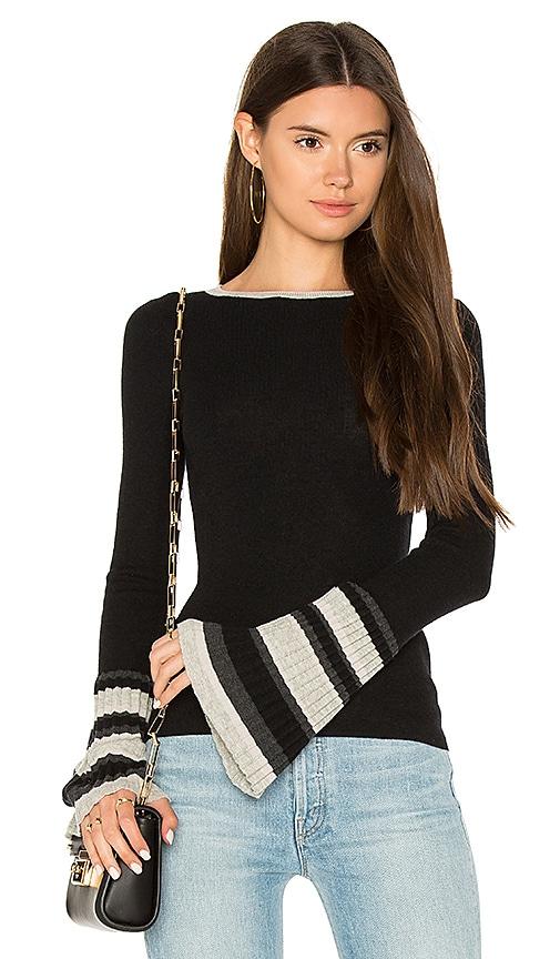 Autumn Cashmere Ribbed Pleat Cuff Sweater in Black