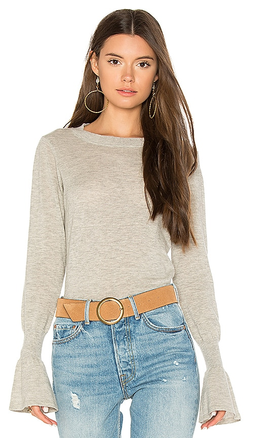 Autumn Cashmere Ruffle Sleeve Crew Sweater in Gray