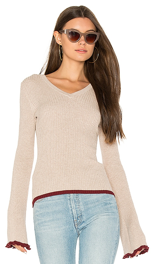Autumn Cashmere Ribbed Bell Sleeve Sweater in Taupe