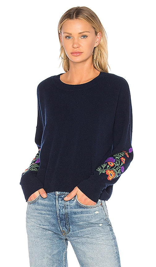 Autumn Cashmere Embroidered Crop Sweater in Navy