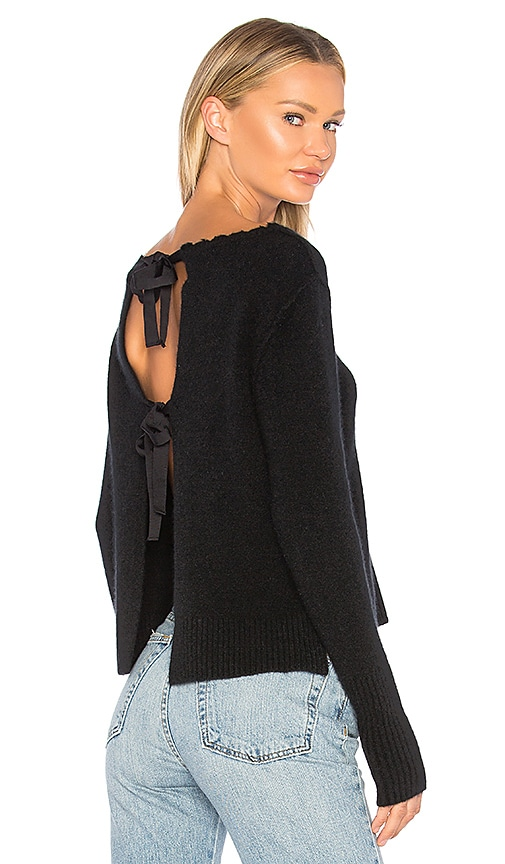 Autumn Cashmere Distressed Crew Sweater in Black
