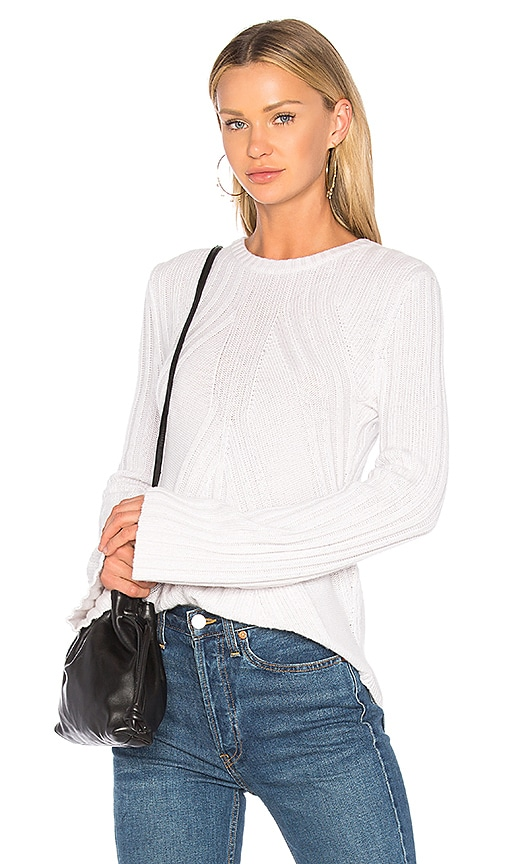 Autumn Cashmere Ribbed Flare Sweater in Light Gray