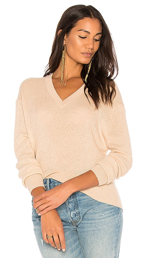 Autumn Cashmere Ribbed Hi Lo Sweater in Beige