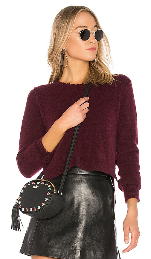 Autumn Cashmere Distressed Crop Sweater in Burgundy