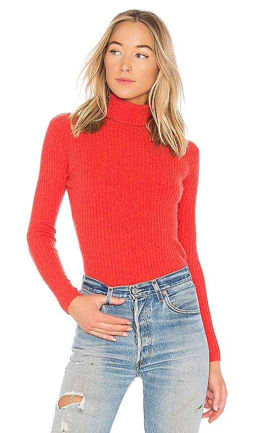 Autumn Cashmere Rib Turtleneck Sweater in Red