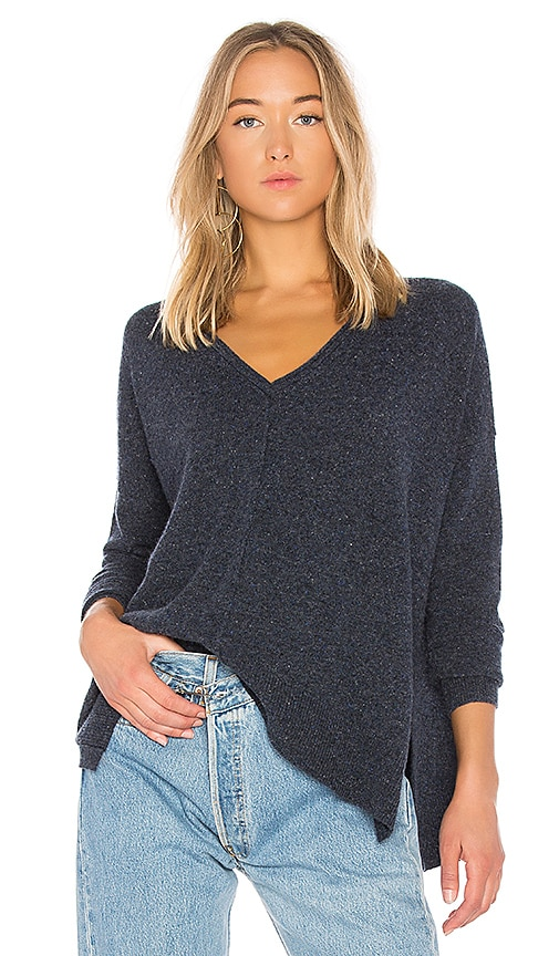 Autumn Cashmere Relaxed V Neck Sweater in Blue