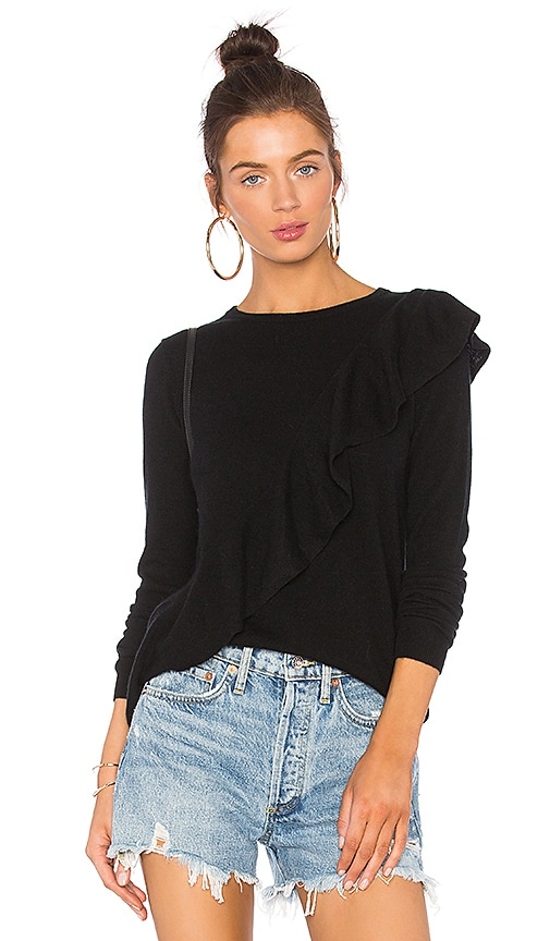 Autumn Cashmere Asymmetric Ruffle Sweater in Black