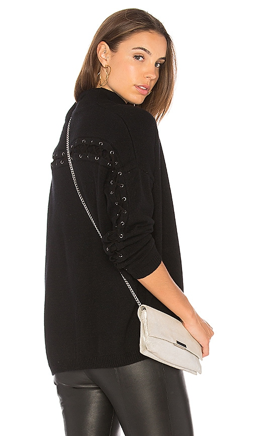 Autumn Cashmere Laced Back Sweater in Black