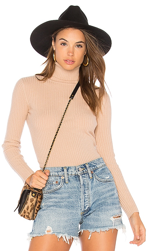 Autumn Cashmere Rib Turtleneck Sweater in Tan