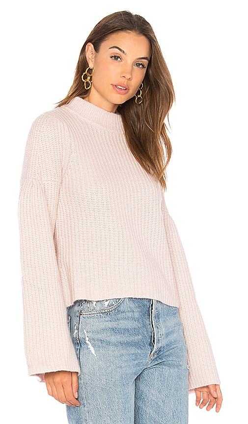 Autumn Cashmere Cropped Mock Sweater in Blush