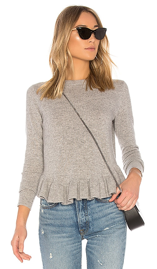 Autumn Cashmere Ruffle Sweater in Gray