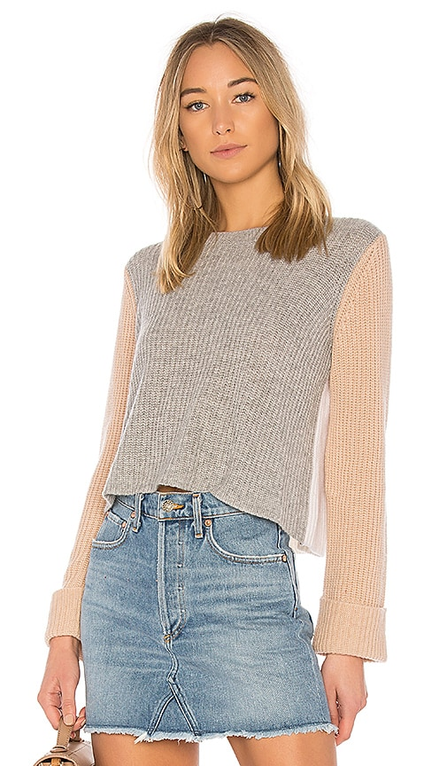 Autumn Cashmere Color Block Sweater in Gray